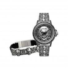 Police PL15530SKS-SET1 Herren-Uhr Armband Bronxdale Edelstahl Ø 46 mm