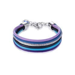 Coeur de Lion 0120/30-0708 Armband Multirow Nappa-Leder Mesh Blau-Lila