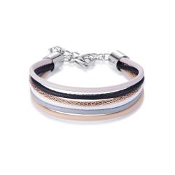 Coeur de Lion 0120/30-1523 Armband Multirow Nappa-Leder Mesh Natur