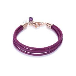 Coeur de Lion 0219/30-0421 Armband Damen Multirow Nappa-Leder Dunkelpink Rosé-Ton