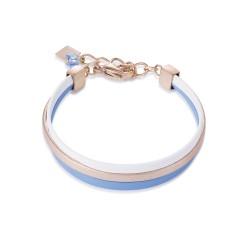 Coeur de Lion 0221/30-0714 Armband Multirow Flat Nappa-Leder Blau Weiss