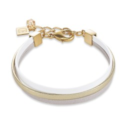 Coeur de Lion 0221/30-1412 Armband Multirow Flat Nappa-Leder Edelstahl Gold Weiss Grau