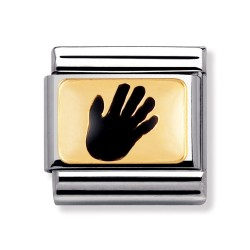 Nomination 030209/44 Charm Classic Gold Emailliert Handabdruck Schwarz