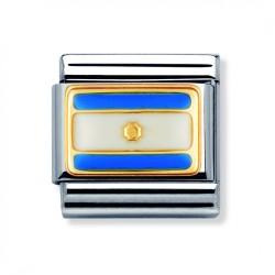 Nomination 030235/03 Charm Classic Gold Flagge Weiss Blau Emailliert Argentinien