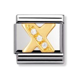 Nomination 030301/24 Charm Classic Gold Buchstabe X Zirkonia