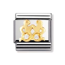 Nomination 030302/03 Charm Gold Sternzeichen Zwillinge Zirkonia