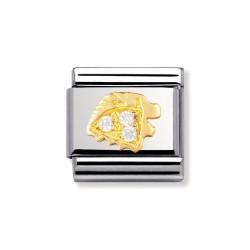 Nomination 030302/05 Charm Gold Sternzeichen Löwe Zirkonia