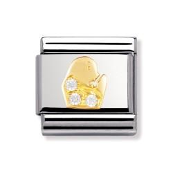 Nomination 030302/06 Charm Gold Sternzeichen Jungfrau Zirkonia