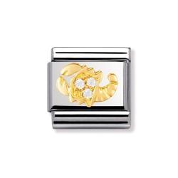 Nomination 030302/08 Charm Gold Sternzeichen Skorpion Zirkonia