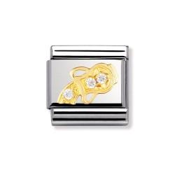 Nomination 030302/11 Charm Gold Sternzeichen Wassermann Zirkonia