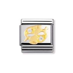 Nomination 030302/12 Charm Gold Sternzeichen Fische Zirkonia