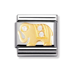 Nomination 030304/21 Charm Classic Gold Elephant Zirkonia