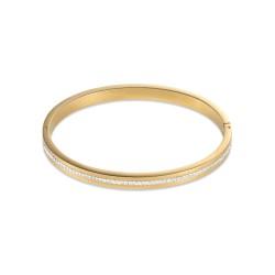 Coeur de Lion 0326-1800 Armreif Damen Edelstahl Gold Kristall Pavé Streifen Weiss