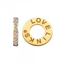 Lovelinks 0382371-75 Charm Zwischenelement Zirkonia Silber Vergoldet