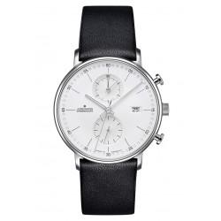 Junghans 041/4770.00 Herren-Uhr Form C Chronograph Quarz mit Leder-Band