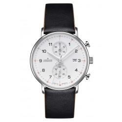Junghans 041/4771.00 Herren-Uhr Form C Chronograph Quarz mit Leder-Band