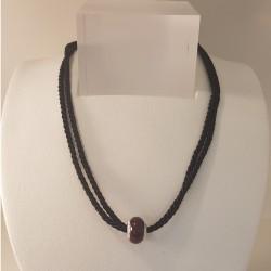 Lovelinks 07101168-38 Set Kette Kordel Beads Charms Verschluss Silber Schwarz 38 cm