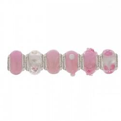 Lovelinks 1100751 Set Charms Muranoglas Rosa-Weiss Silber