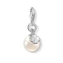 Thomas Sabo 1461-082-14 Charm-Anhänger Perle mit Kleeblatt Silber