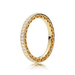 Pandora Shine 167076CZ Ring Damen Hearts Of Pandora Silber Gold Gr. 54