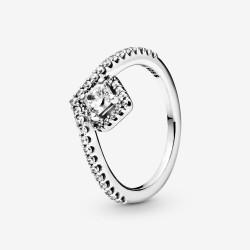 Pandora 198420C01 Ring Damen Funkelndes Quadrat Wishbone Silber