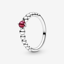 Pandora 198867C02 Ring Damen Leuchtend Rote Metallperlen Silber