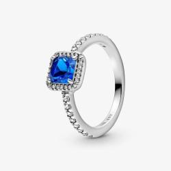 Pandora 198863C02 Ring Blauer Quadratischer Funkelnder Strahlenkranz Silber