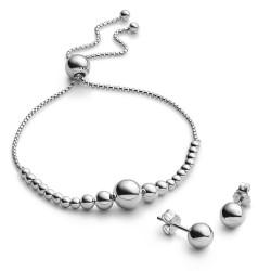 Pandora B801036 Set Armband Ohrstecker String of Beads Sterling-Silber