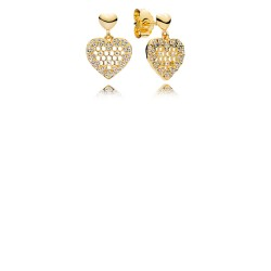 Pandora Shine 267068CZ Ohhringe Earrings Honeycomb Lace Silber 18-K-Gold