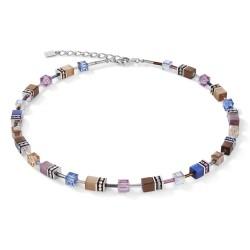 Coeur de Lion 2839/10-0740 Halskette Damen GeoCUBE® Blau Braun Flieder Edelstahl