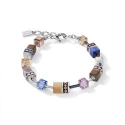 Coeur de Lion 2839/30-0740 Armband Damen GeoCUBE® Blau Braun Flieder Edelstahl
