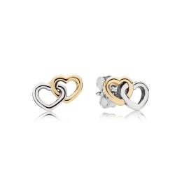 Pandora 290567 Ohrstecker Herz an Herz Bicolor Sterling-Silber 14-K-Gold