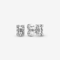 Pandora 297567CZ Ohrstecker Funkelnder Quadratischer Strahlenkranz Silber