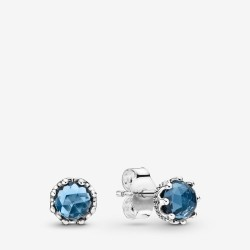 Pandora 298311NMB Ohrringe Blue Sparkling Crown Sterling Silber