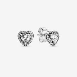 Pandora 298427C01 Ohrringe Ohrstecker Damen Erhabene Herzen Silber