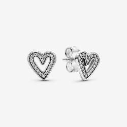 Pandora 298685C01 Ohrstecker Damen Funkelndes Freihand-Herz Silber