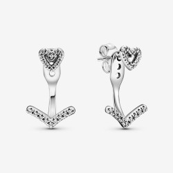 Pandora 299280C01 Ohrringe Damen Funkelnde Wishbone Herz Silber