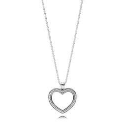 Pandora 397230CZ Kette Anhänger Sparkling Floating Heart Locket Sterling-Silber 60 cm