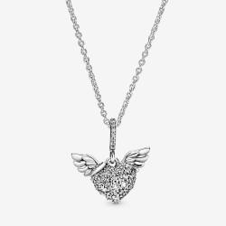 Pandora 398505C01 Kette mit Anhänger Damen Pavé-Herz Engelsflügel Silber