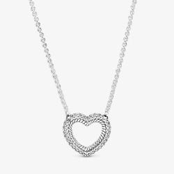 Pandora 399110C01 Schlangen-Gliederhalskette Pavé Offenes Herz Silber