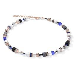 Coeur de Lion 4013/10-0700 Halskette GeoCUBE® Swarovski® Weiß & Blau Rosé