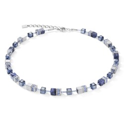 Coeur de Lion 4017/10-0700 Halskette Damen GeoCUBE® Sodalith & Hämatit Blau Edelstahl
