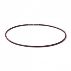 Monomania 40510DR Halskette Damen Silikonband Dunkelrot Edelstahl 45 cm