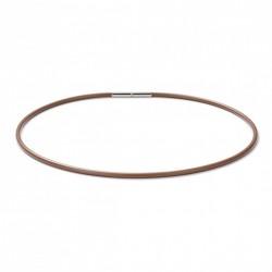 Monomania 40510HBR Halskette Damen Silikonband Hellbraun Edelstahl 45 cm