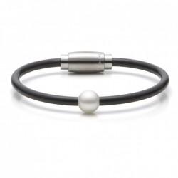 Monomania 40911 Armband Damen Süßwasserperle Silikon Edelstahl 18 cm