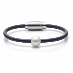 Monomania 40921 Armband Damen Süßwasserperle Silikon Edelstahl 19 cm