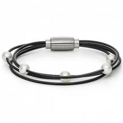Monomania 40931SC Armband Damen Silikon Süsswasser-Perlen Schwarz