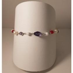 Monomania 43503 Armband Damen Edelstahl Perlen Weiss Rot Lila Silber Gr. S