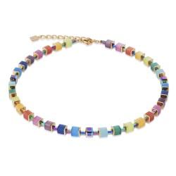 Coeur de Lion 4947/10-1535 Kette GeoCUBE® Swarovski® Multicolor Rainbow-Gold