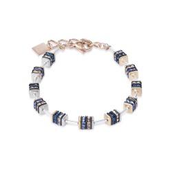 Coeur de Lion 4950/30-0700 Armband Strass Edelstahl Rosé-Silber-Ton Blau